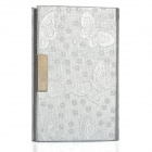 Elegant Butterfly Pattern PU Leather Metal Name Card Business Card Holder Case - Silver