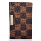 Fashion Plaid Style PU Leather Metal Name Card Business Card Holder Case - Brown