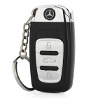 Benz Logo Butane Lighter with White 1-LED Flashlight & Keychain - Black + Silver (1 x AG3)