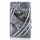 Cool Dragon Pattern Butane Lighter with White 1-LED Light & Money Detector - Silver Grey (1 x AC3)