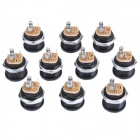 2.5mm DC Power Jack Connector - Black + Silver (10-Piece Pack)