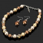 Elegant Artificial Pearls Necklace + Earrings Set - Golden
