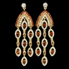 Elegant Imitation Diamond Zinc Alloy Earrings - Gold (Pair)