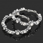 Stylish Shining Rhinestone Zinc Alloy Earrings - Silver