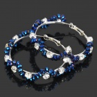 Stylish Shining Rhinestone Zinc Alloy Earrings - Silver + Blue