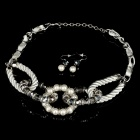 Elegant Pearl Stlye Necklace + Earrings Jewelry Set - Silver + White