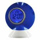 "Fashion BR-519A 1.8"" LCD Desktop Talking Digital Alarm Clock - Blue + White (2 x AAA)"