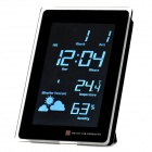 "AC Powered 5.5"" White Backlight LCD Digital Clock w/ Calendar / Thermometer / Weather Forecast"