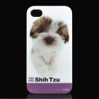 Cute Shih Tzu Puppy Pattern Protective Plastic Back Case for iPhone 4 / 4S - White