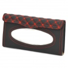 PU Leather Car Sun Visor Tissue Paper Holder Dispenser Box - Black + Red