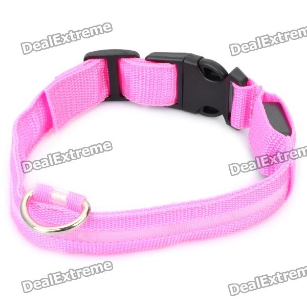 Adjustable 3-Mode Blue LED Strip Nylon Pet Collar - Pink (2 x CR2032 / Size-S) universal nylon cell phone holster blue black size l