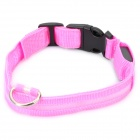 Adjustable 3-Mode Blue LED Strip Nylon Pet Collar - Pink (2 x CR2032 / Size-M)