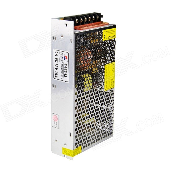 12V 15A Ferro Caso Power Supply - Silver (AC 110 ~ 220V)