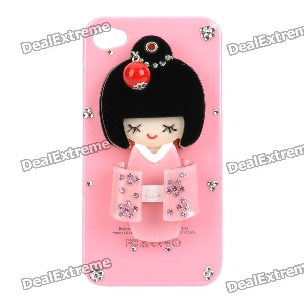 Kimono Girl Doll Protective Plastic Back Case w/ Small Mirror for Iphone 4 / 4S - Pink cartoon pattern matte protective abs back case for iphone 4 4s deep pink