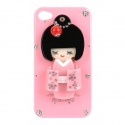 Kimono Girl Doll Protective Plastic Back Case w/ Small Mirror for Iphone 4 / 4S - Pink