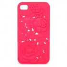 Charming Protective Back Case with Rose Drawing for iPhone 4 / 4S - Red