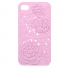 Charming Protective Back Case with Rose Drawing for iPhone 4 / 4S - Pink