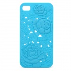 Charming Protective Back Case with Rose Drawing for iPhone 4 / 4S - Blue