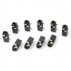 DIY 2.5mm Stereo Audio Jack - Black + Golden (10-Piece Pack)