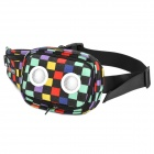 SHANFU L-24 Check-Patterned Canvas Waist Bag w/ Detachable Speakers (USB / 4 x AA)