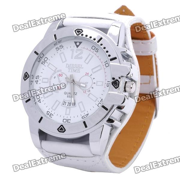 Fashion Leather Belt Style Waterproof Wrist Watch - White (1 x LR626)