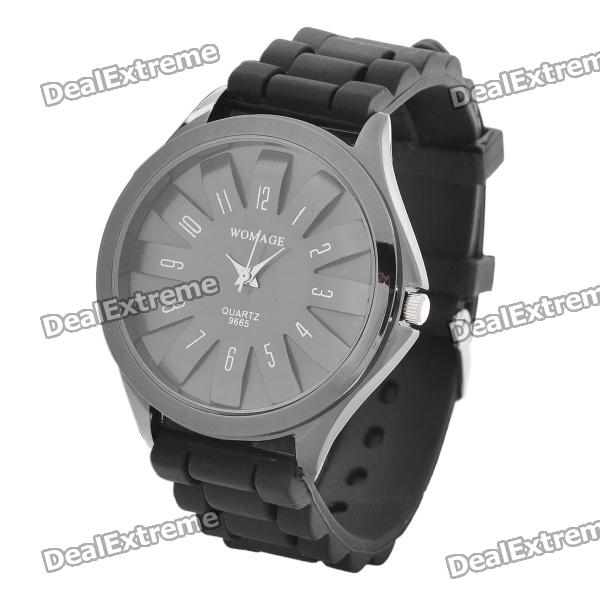 Fashion Silicone Band Quartz Wrist Watch - Black (1 x LR626)