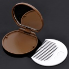 Chocolate Cookie Style Makeup Mirror + Brush Set - Coffee + White