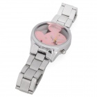 Stylish Lady's Carved Mickey Mouse Style Dial Stainless Steel Wrist Watch - Pink (1 x LR626)