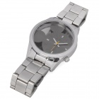 Stylish Men's Carved Mickey Mouse Style Dial Stainless Steel Wrist Watch - Silver (1 x LR626)