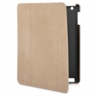 Protective PU Leather Cover PC Back Case for New iPad - Brown