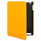 Protective PU Leather Cover PC Back Case for New iPad - Yellow