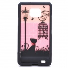 Cute Cat Pattern Protective PC Back Case for Samsung i9100 - Pink + Black