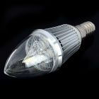 E14 Candle Style 3W 220-300LM 6000-7000K 3-LED White Light Bulb - Silver (85~245V)