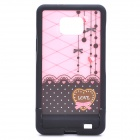 Cute Lace Pattern Protective PC Back Case for Samsung i9100 - Pink + Black