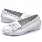 INCOME Women's Cow Leather Casual Shoes - White (Size-37)