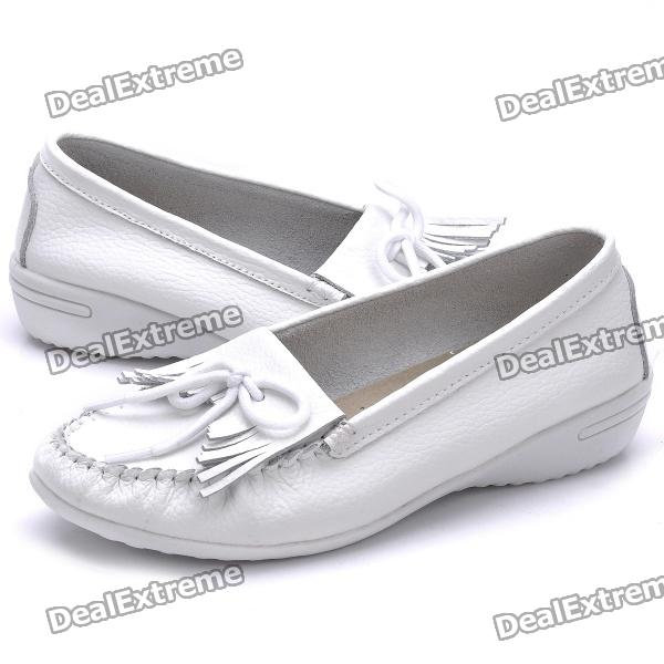 INCOME Women's Cow Leather Casual Shoes - White (Size-39)