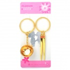 Mini Bowl & Chopsticks Style Couple Lovers Keychain - Gold (Pair)