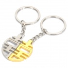 Chinese Character Xi (Meaning Happy) Shaped Keychain with Magnet - Silver + Gold (Pair)