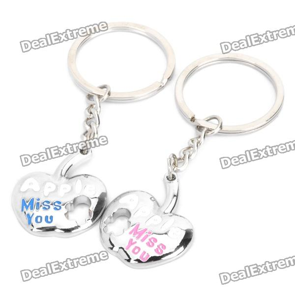 Cute Apple Shaped Couple Lovers Keychain - Silver (Pair)