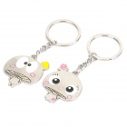 Cute Cartoon Style Couple Lovers Keychain - Silver (Pair)