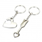 Stylish Arrow & Heart Style Couple Lovers Keychain - Silver (Pair)