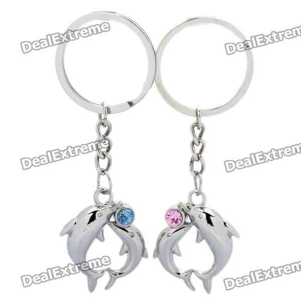 Sweet Dolphin Style Couple Lovers Keychain - Silver (Pair) lovers playing golf zinc alloy keychains silver pair