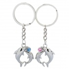 Sweet Dolphin Style Couple Lovers Keychain - Silver (Pair)