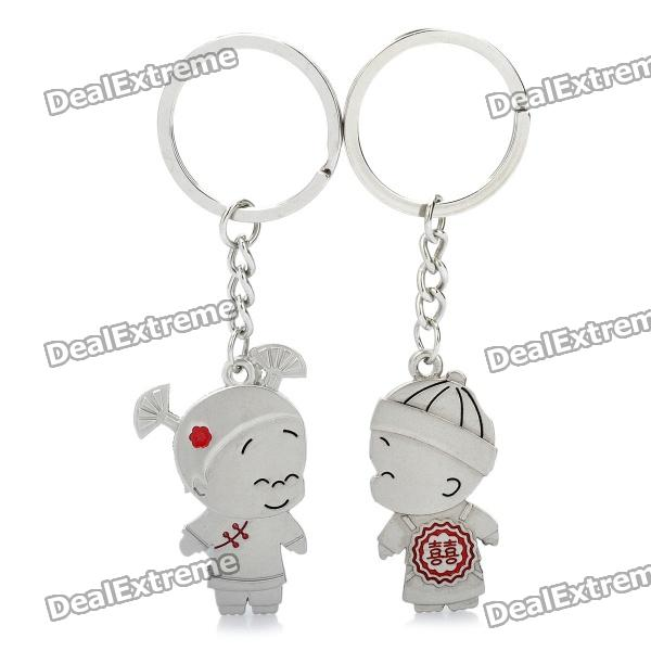 Chinese Wedding Couple Dolls Style Lovers Keychain - Silver + Red (Pair) lovers playing golf zinc alloy keychains silver pair