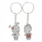 Chinese Wedding Couple Dolls Style Lovers Keychain - Silver + Red (Pair)