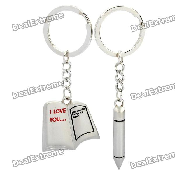 Creative Love Letter & Pen Style Couple Lovers Keychain - Silver (Pair) lovers playing golf zinc alloy keychains silver pair
