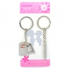 Creative Love Letter & Pen Style Couple Lovers Keychain - Silver (Pair)