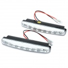 0.48W 50LM 6000-7500K White 8-LED Car Daytime Running Light (DC 12V / Pair)