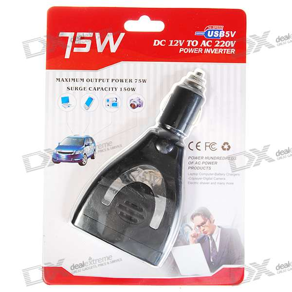 75W 220V-AC Car Compact Power Inverter with USB Port