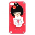 Japanese Doll Style Protective Plastic Case with Small Mirror for Iphone 4/4S - Red